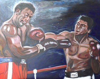 Painting in acrylics on canvas-Ali Vs Foreman