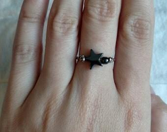 Spinning Star Hematite Sterling Silver Ring