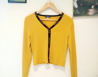 Vintage ELLE canary yellow cardigan