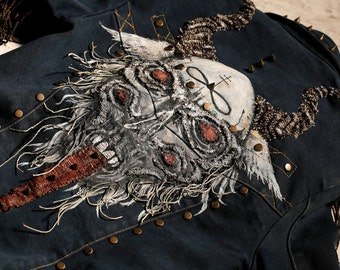 Asmodeus-demon denim jacket with shoulder pieces / handpainted / festival