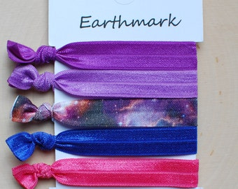 Galaxy Eclipse 5-pack Fold Over Elastic Hair ties | FOE Hairties | No Crease Hairbands | Ponytail holders | Purple Galaxy Bracelets