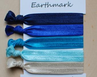 Sand and Sea Hairbands 5-pack   Fold Over Elastic Hair bands   FOE Hair ties   No Crease Hairties   Ocean Bracelets   Blue   Tan   Beach