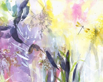 """Semi abstract, floral art, large giclee print, yellow, pink, """"Herbarium"""""""