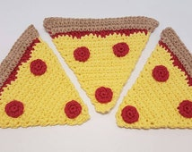 Crochet Pizza Slice Dishcloths /washcloths set of 3.