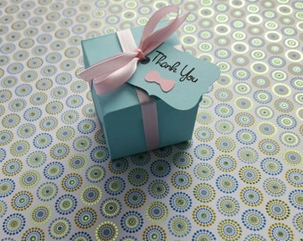 Robins Egg Blue Favor Boxes w/Thank You Favor Tag Bridal Shower Bridal & Co Breakfast at Tiffany's Inspired Favor Boxes with favor tag