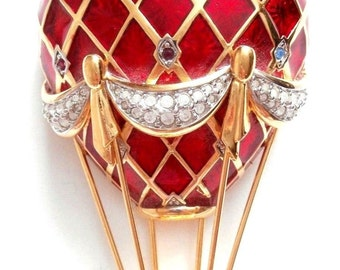 Signed Swarovski Pin Brooch Hot Air Baloon Red Enamel & Crystals in Pouch