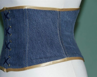 Blue light denim corset girdle size 12/14 (US) corsage
