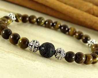 Tiger eye bali jewelry lava tribal jewelry mens minimalist bracelet amulet protection tiger eye mens gift for husband mens yoga bracelet