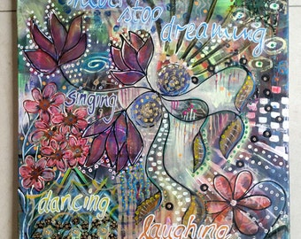 Acrylic painting print 50 x 50 intuitive painting soul garden