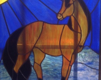 Bay horse stained glass panel