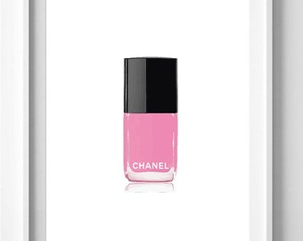 Poster poster varnish pink chanel, feminine and original decoration for the House.