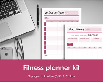 """Fitness planner and workout log insert, printable. Weekly fitness plan. USLetter size (8.5""""x11"""")Size. Instant download. PDF & JPEG format."""