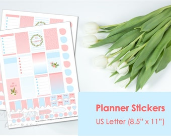"Printable planner Stickers, coral and blue colors. US Letter Size (8.5""x11""), Portrait. Floral digital stickers. Instant download."
