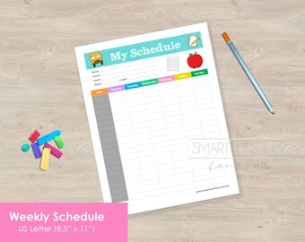 """Week Schedule, School planner insert, Printable. US Letter Size 8.5""""x11"""". Teacher or Student hourly schedule. High resolution. PDF File."""
