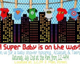Superhero Baby Shower Invite