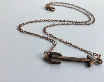 Copper Necklace with Arrow Charm