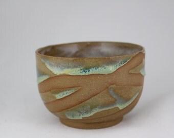 Opal striped glazed ceramic cup