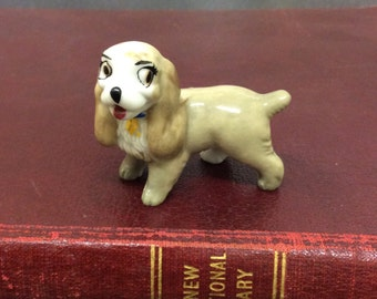 Vintage Lady Wade Whimsies Hat Box Series, 1950s 1960s, Lady and the Tramp, Wade Pottery dog figurine, Walt Disney Character