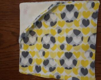 Yellow and Gray Hearts Wash Cloth