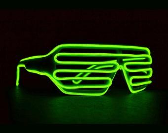 Green LED Rave Light Up Shutter Glasses for DJ, Edc, Ultra, Music Festival, Concerts, Clubs, EDM