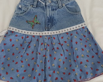Jeans skirt Girls upcycled love bugs and butterflies