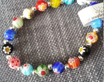 colourful millefiore glass bead stretch bracelet