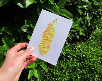 Yellow Watercolour Feather Card, Feather Greeting Card, Feather Illustration, Yellow and White