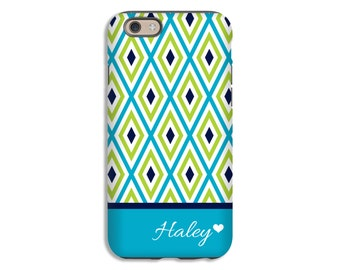 Personalized iPhone 7 case, green and blue iPhone SE case, iPhone 6s case, girls iPhone case, iPhone 6 Plus case/6 case, 3D iPhone case