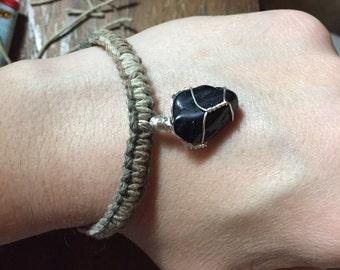 Woven Hemp Bracelet with Black Tourmaline Charm