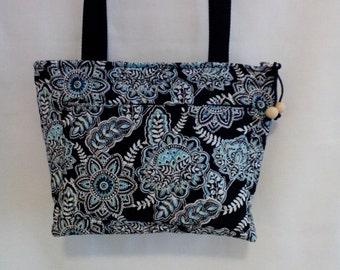 Black/Aqua quilted shoulder bag