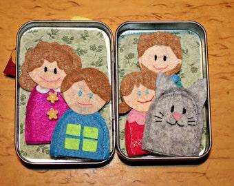 Felt finger puppet family with house