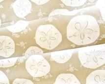 Sand Dollar Fabric | Circles | Sand Dollar Gray Sand | Ocean Fabric | Beach Decor | Sea Print | Taupe