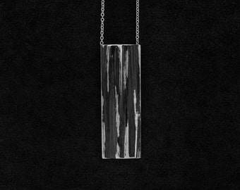 Irregular rectangular pendant long necklace, pendant, silver necklace with rectangular texture grain burnished/925/SCARS