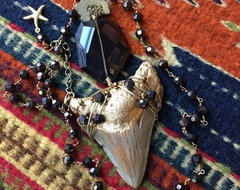 Megalodon Shark Tooth Fossil Necklace