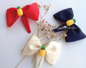 pineapple with ribbon bow hair clips