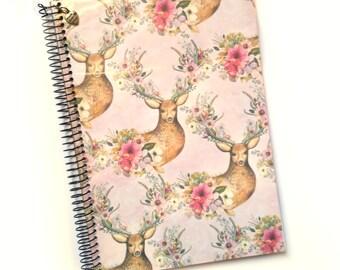 Book artisan A5 |  Decoration deer | Handmade notebook