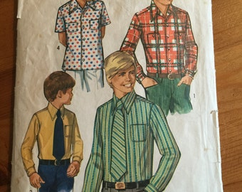 1970 Vintage Simplicity 8901 - Boys shirt and tie pattern - size 8