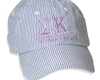 SK  Sigma Kappa Sorority Seersucker Line Baseball Hat.