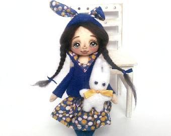 Bunny blue. Textile handmade doll