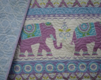 Bohemian elephants baby girl crib quilt nursery bedding toddler blanket, purple, animal blanket, baby girl quilts