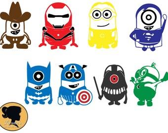 Minion Super heroes SVG, Minion Captain america SVG, Fun minion, Minions design clipart, cameo files, svg files for cricut, dxf, vector