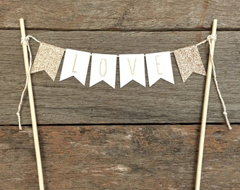 Cake Bunting topper - 'Love' square flags