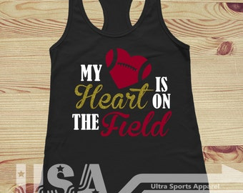 Football - My Heart Is On The Field - Customizable Tank Top