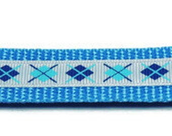 Medium Light Blue/White Argyle Dog Collar