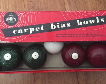 Vintage 1950s Duperite Carpet Bias Bowls - 8 balls and Kitty