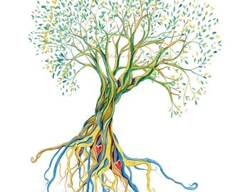 Whimsical tree of life watercolor print matted  11 x 14 size print