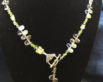 Moonstone, Peridot, and Swarovski Crystal Necklace