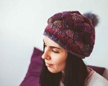 "Women's Warm Tunisian Crochet Worsted Noro Wool Silk Mohair Hat ""Sweet Toddy"""