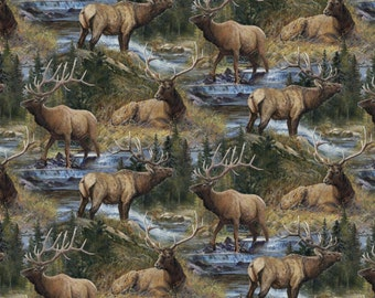 """ELK Fabric: Wild Wings Lazy Afternoon Scenic - Elk & Pines  by Springs Creative 100% cotton Fabric by the yard 36""""x43"""" (SC145)"""