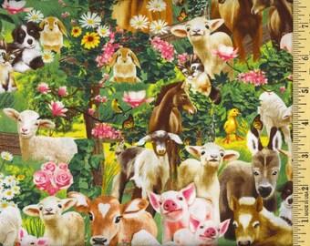 "Farm Animals Fabric: Pig, Goat, Dog, Horse, Cat, Rabbit, Donkey, Lamb - Michael C3968 Green  100% cotton Fabric by the yard 36""x44""  (K177)"